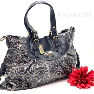 COACH TOTE- leather faux snake skin print